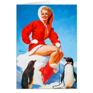 Christmas Pinup with Penguins! Card