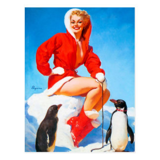 Christmas Pinup with Penguins! Postcard