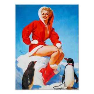Christmas Pinup with Penguins! Poster