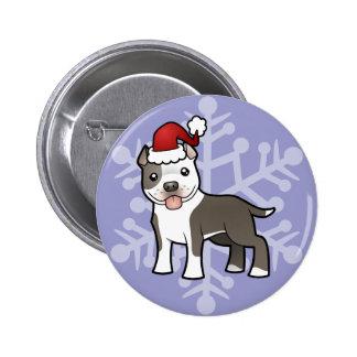 Christmas Pitbull / American Staffordshire Terrier 6 Cm Round Badge