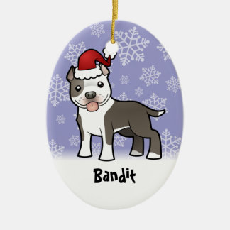 Christmas Pitbull / American Staffordshire Terrier Ceramic Oval Decoration