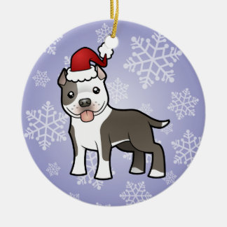Christmas Pitbull / American Staffordshire Terrier Round Ceramic Decoration