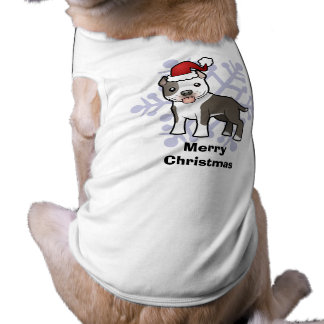 Christmas Pitbull / American Staffordshire Terrier Sleeveless Dog Shirt