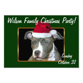 Christmas Pitbull puppy 9 Cm X 13 Cm Invitation Card
