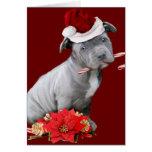 Christmas Pitbull puppy Card