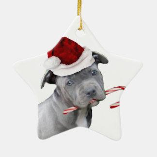 Christmas pitbull puppy christmas ornament