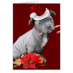 Christmas Pitbull puppy Greeting Card