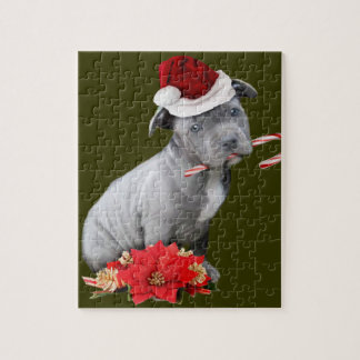 Christmas Pitbull puppy Jigsaw Puzzle