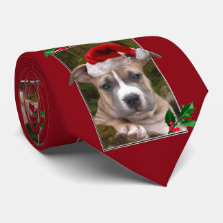 Christmas pitbull puppy necktie