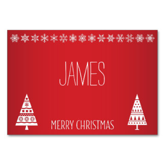 Christmas Place Cards With White Snowflakes