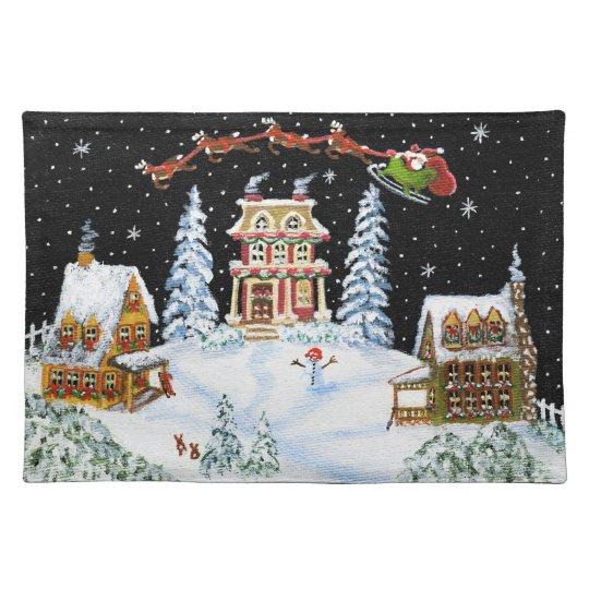 Christmas,place mat,Santa,Claus,rabbits,snowman Placemat