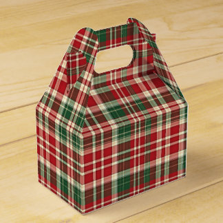 Christmas Plaid 01-PARTY FAVOR BOX, gable Party Favour Boxes