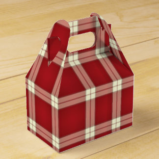 Christmas Plaid 02-PARTY FAVOR BOX, gable Wedding Favour Box