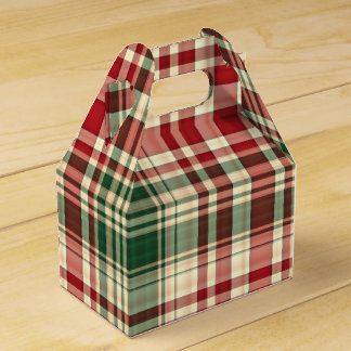 Christmas Plaid 06-PARTY FAVOR BOX, gable Wedding Favour Box