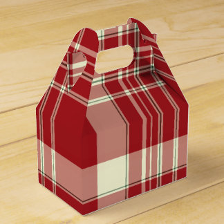 Christmas Plaid 07-PARTY FAVOR BOX, gable Favour Boxes