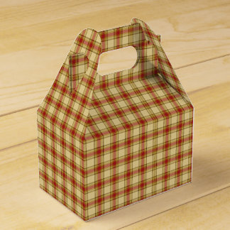 Christmas Plaid 09-PARTY FAVOR BOX, gable Favour Boxes
