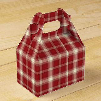 Christmas Plaid 10-PARTY FAVOR BOX, gable Party Favour Box