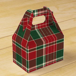 Christmas Plaid 12-PARTY FAVOR BOX, gable Favour Boxes