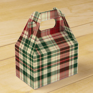 Christmas Plaid 14-PARTY FAVOR BOX, gable Favour Boxes