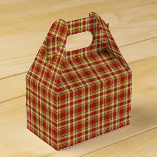 Christmas Plaid 15-PARTY FAVOR BOX, gable Favour Box