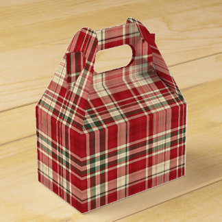 Christmas Plaid 23-PARTY FAVOR BOX, gable Favour Box