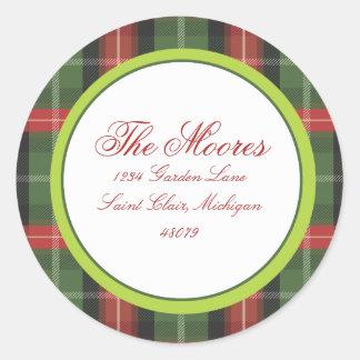 Christmas Plaid Address Label Round Sticker