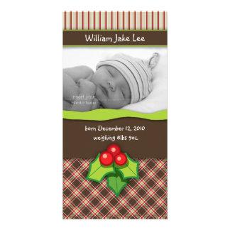 Christmas Plaid Baby Photo Card announcement