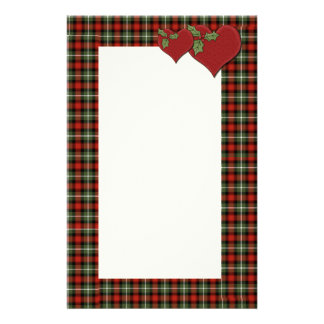 Christmas Plaid Hearts of Love Stationery