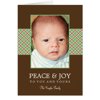 Christmas Plaid Holiday Photo Card Greeting Cards