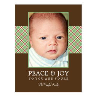 Christmas Plaid Holiday Photo Card Postcard