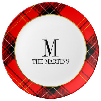 Christmas Plaid Monogram Family Name Plate