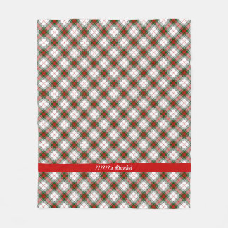 Christmas Plaid ~ Personalized Fleece Blanket