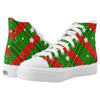 Christmas Plaid Red Green with White Stars Printed Shoes