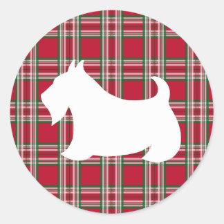 Christmas Plaid Scottish Terrier Dog Sticker