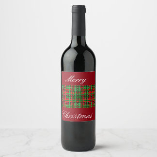 Christmas plaid wine label