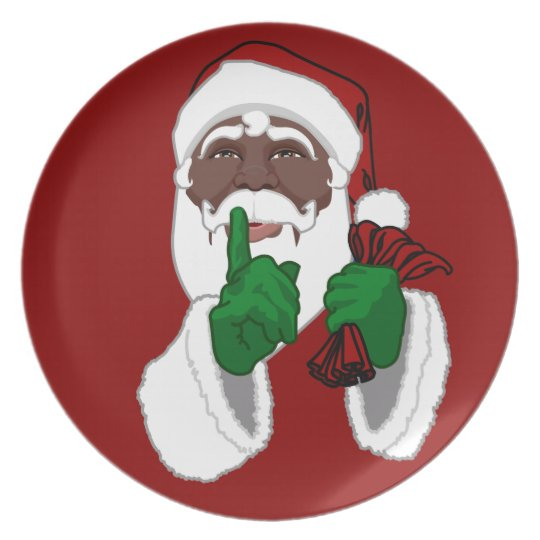 Christmas Plate African American Santa Plates