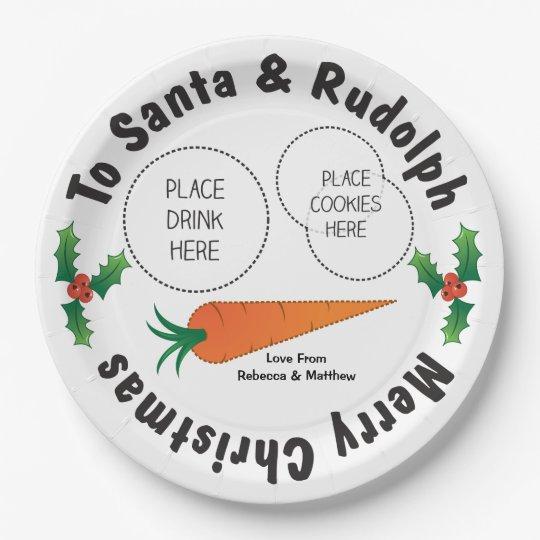 Christmas Plate Santa & Rudolph Personalised Kids