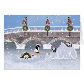 Christmas, Playful Penguins on Frozen Lake Greeting Card
