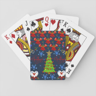 Christmas playing card deck dark blue