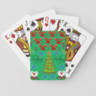Christmas playing card deck dark green