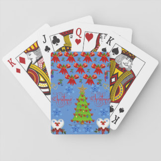 Christmas playing card deck light blue