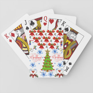 Christmas playing card deck white