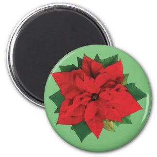 Christmas Poinsetta 6 Cm Round Magnet