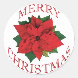 Christmas Poinsetta Round Sticker