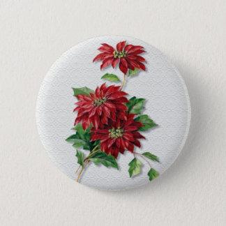 Christmas Poinsettia 6 Cm Round Badge