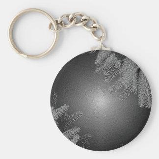 Christmas Poinsettia Black And Grey Keychain