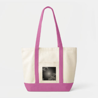 Christmas Poinsettia Black And Grey V Tote Bags