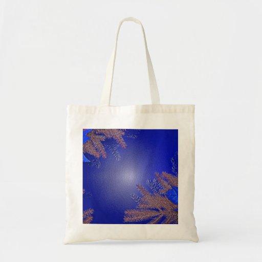 Christmas Poinsettia Blue Canvas Bag