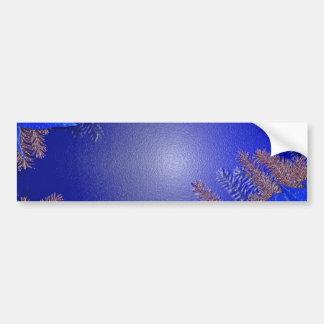 Christmas Poinsettia Blue Car Bumper Sticker