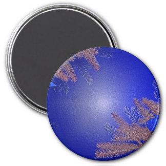 Christmas Poinsettia Blue Fridge Magnet